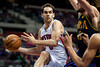 Feb 11, 2013; Auburn Hills, MI, USA; Detroit Pistons point guard Jose Calderon (8) goes to the basket during the second quarter against the New Orleans Hornets at The Palace. Mandatory Credit: Tim Fuller-USA TODAY Sports