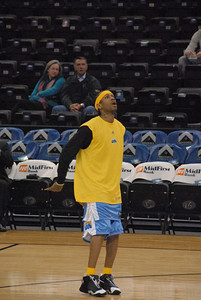New Orleans/OKC Hornets vs Denver Nuggets.  December 29, 2006. The Nuggets play only the fourth game since trading for ex-Philadelphia star guard Allen Iverson.   The Nuggets will be without All-Star Carmelo Anothony and ex-Hornet J.R. Smith due to a 15 game suspension.
