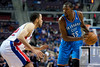 Nov 12, 2012; Auburn Hills, MI, USA; Detroit Pistons small forward Tayshaun Prince (22) guards Oklahoma City Thunder small forward Kevin Durant (35)during the second quarter at The Palace. Mandatory Credit: Tim Fuller-US PRESSWIRE