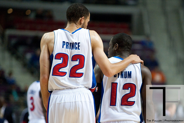 Nov 12, 2012; Auburn Hills, MI, USA; Detroit Pistons small forward Tayshaun Prince (22) talk to point guard Will Bynum (12) during the first quarter at The Palace. Mandatory Credit: Tim Fuller-US PRESSWIRE