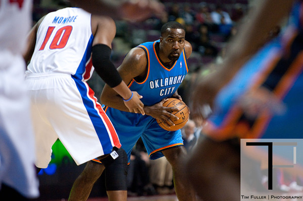 Nov 12, 2012; Auburn Hills, MI, USA; Oklahoma City Thunder center Kendrick Perkins (5) during the first quarter against the Detroit Pistons at The Palace. Mandatory Credit: Tim Fuller-US PRESSWIRE