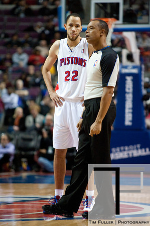 Nov 12, 2012; Auburn Hills, MI, USA; Detroit Pistons small forward Tayshaun Prince (22) talks to NBA referee Rodney Mott (71) during the third quarter against the Oklahoma City Thunder at The Palace. Thunder won 92-90. Mandatory Credit: Tim Fuller-US PRESSWIRE