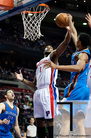 Nov 12, 2012; Auburn Hills, MI, USA; Detroit Pistons center Andre Drummond (1) grabs a rebound during the second quarter against the Oklahoma City Thunder at The Palace. Mandatory Credit: Tim Fuller-US PRESSWIRE