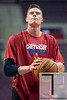 Nov 12, 2012; Auburn Hills, MI, USA; Detroit Pistons power forward Jonas Jerebko (33) warms up before the game against the Oklahoma City Thunder at The Palace. Mandatory Credit: Tim Fuller-US PRESSWIRE