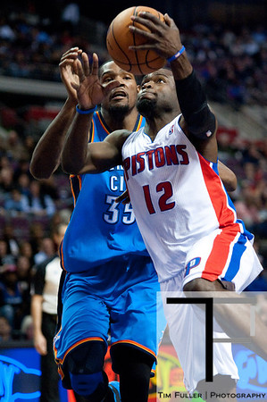 Nov 12, 2012; Auburn Hills, MI, USA; Detroit Pistons point guard Will Bynum (12) goes to the basket during the fourth quarter against the Oklahoma City Thunder at The Palace. Thunder won 92-90. Mandatory Credit: Tim Fuller-US PRESSWIRE