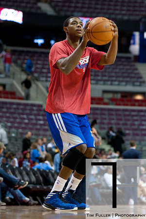 Nov 12, 2012; Auburn Hills, MI, USA; Detroit Pistons point guard Brandon Knight (7) warms up before the game against the Oklahoma City Thunder at The Palace. Mandatory Credit: Tim Fuller-US PRESSWIRE