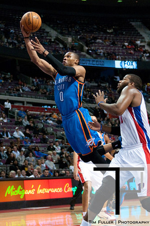 Nov 12, 2012; Auburn Hills, MI, USA; Oklahoma City Thunder point guard Russell Westbrook (0) lays it up during the first quarter against the Detroit Pistons at The Palace. Mandatory Credit: Tim Fuller-US PRESSWIRE