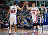 Nov 12, 2012; Auburn Hills, MI, USA; Detroit Pistons small forward Kyle Singler (25) high fives small forward Tayshaun Prince (22) during the second quarter against the Oklahoma City Thunder at The Palace. Mandatory Credit: Tim Fuller-US PRESSWIRE