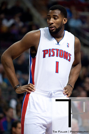 Nov 12, 2012; Auburn Hills, MI, USA; Detroit Pistons center Andre Drummond (1) during the second quarter against the Oklahoma City Thunder at The Palace. Mandatory Credit: Tim Fuller-US PRESSWIRE
