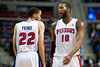 Nov 12, 2012; Auburn Hills, MI, USA; Detroit Pistons small forward Tayshaun Prince (22) and center Greg Monroe (10) during the first quarter against the Oklahoma City Thunder at The Palace. Mandatory Credit: Tim Fuller-US PRESSWIRE