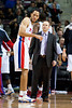 Nov 12, 2012; Auburn Hills, MI, USA; Detroit Pistons small forward Tayshaun Prince (22) talks to head coach Lawrence Frank during the fourth quarter against the Oklahoma City Thunder at The Palace. Thunder won 92-90. Mandatory Credit: Tim Fuller-US PRESSWIRE