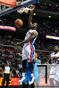 Nov 12, 2012; Auburn Hills, MI, USA; Detroit Pistons point guard Rodney Stuckey (3) slam dunks the ball during the fourth quarter against the Oklahoma City Thunder at The Palace. Thunder won 92-90. Mandatory Credit: Tim Fuller-US PRESSWIRE
