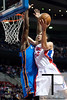 Nov 12, 2012; Auburn Hills, MI, USA; Oklahoma City Thunder power forward Serge Ibaka (9) attempts to block Detroit Pistons small forward Tayshaun Prince (22) during the third quarter at The Palace. Thunder won 92-90. Mandatory Credit: Tim Fuller-US PRESSWIRE
