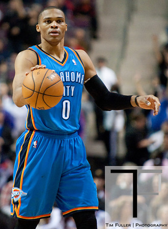 Nov 12, 2012; Auburn Hills, MI, USA; Oklahoma City Thunder point guard Russell Westbrook (0) brings the ball up court during the second quarter against the Detroit Pistons at The Palace. Mandatory Credit: Tim Fuller-US PRESSWIRE