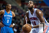 Nov 12, 2012; Auburn Hills, MI, USA; Detroit Pistons center Greg Monroe (10) shoots a free throw during the third quarter against the Oklahoma City Thunder at The Palace. Thunder won 92-90. Mandatory Credit: Tim Fuller-US PRESSWIRE