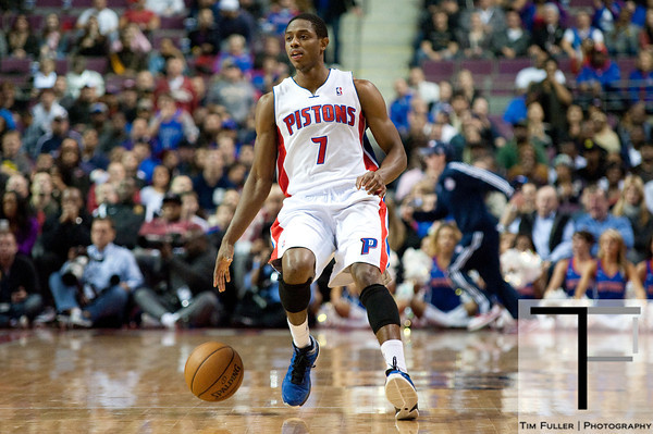 Nov 12, 2012; Auburn Hills, MI, USA; Detroit Pistons point guard Brandon Knight (7) brings the ball up court against the Oklahoma City Thunder during the fourth quarter at The Palace. Thunder won 92-90. Mandatory Credit: Tim Fuller-US PRESSWIRE