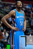 Nov 12, 2012; Auburn Hills, MI, USA; Oklahoma City Thunder small forward Kevin Durant (35) during the second quarter against the Detroit Pistons at The Palace. Mandatory Credit: Tim Fuller-US PRESSWIRE