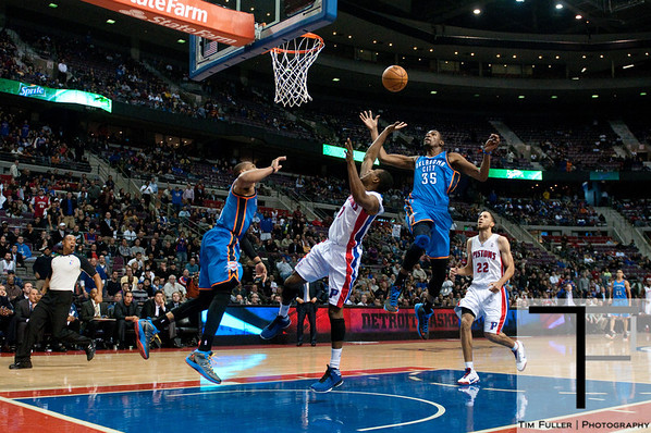 Nov 12, 2012; Auburn Hills, MI, USA; Oklahoma City Thunder small forward Kevin Durant (35) blocks Detroit Pistons point guard Brandon Knight (7) lay up during the fourth quarter at The Palace. Thunder won 92-90. Mandatory Credit: Tim Fuller-US PRESSWIRE