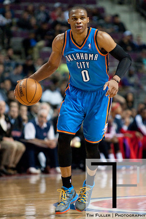 Nov 12, 2012; Auburn Hills, MI, USA; Oklahoma City Thunder point guard Russell Westbrook (0) brings the ball up court against the Detroit Pistons during the first quarter at The Palace. Mandatory Credit: Tim Fuller-US PRESSWIRE