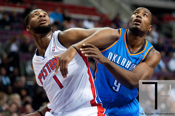 Nov 12, 2012; Auburn Hills, MI, USA; Detroit Pistons center Andre Drummond (1) and Oklahoma City Thunder power forward Serge Ibaka (9) battle for position during the at The Palace. Mandatory Credit: Tim Fuller-US PRESSWIRE