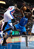 Nov 12, 2012; Auburn Hills, MI, USA; Detroit Pistons power forward Jason Maxiell (54) fouls Oklahoma City Thunder center Kendrick Perkins (5) during the first quarter at The Palace. Mandatory Credit: Tim Fuller-US PRESSWIRE