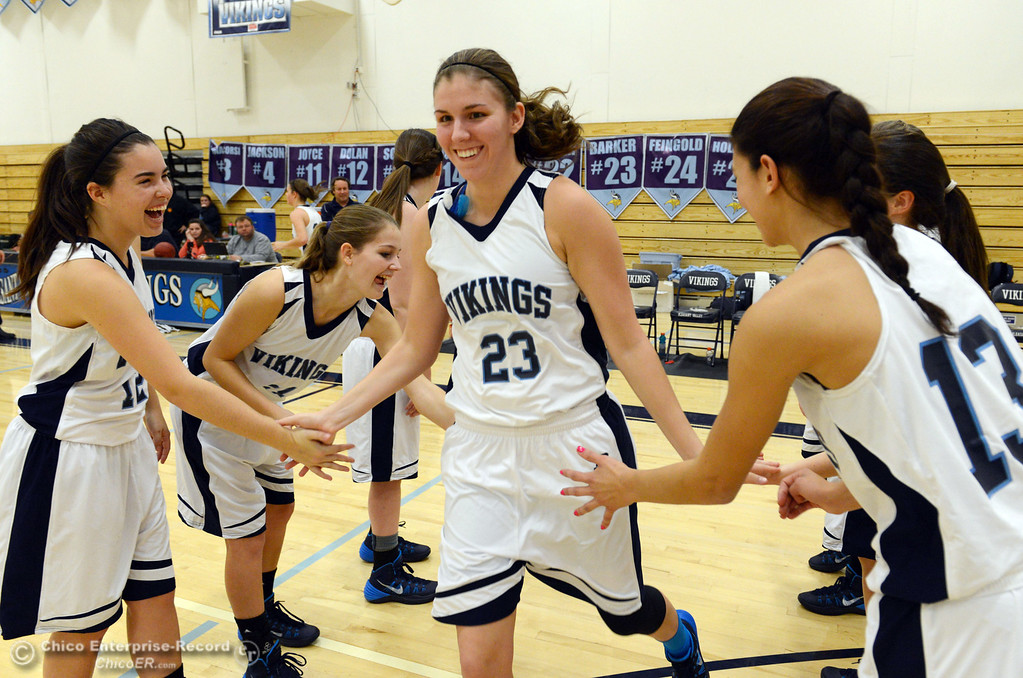 . Pleasant Valley High\'s #23 McKena Barker (center) is introduced against Colfax High in the first quarter of their girls basketball game at PV\'s Varley Gym Saturday, December 7, 2013 in Chico, Calif. (Jason Halley/Chico Enterprise-Record)