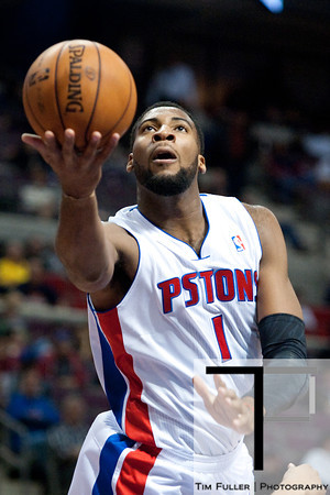 Nov 28, 2012; Auburn Hills, MI, USA; Detroit Pistons center Andre Drummond (1) during the fourth quarter against the Phoenix Suns at The Palace. Detroit won 117-77. Mandatory Credit: Tim Fuller-USA TODAY Sports
