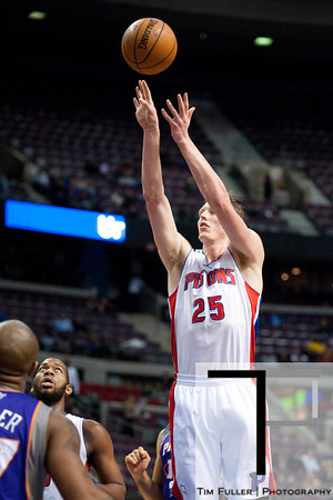 Nov 28, 2012; Auburn Hills, MI, USA; Detroit Pistons small forward Kyle Singler (25) during the third quarter against the Phoenix Suns at The Palace. Detroit won 117-77. Mandatory Credit: Tim Fuller-USA TODAY Sports
