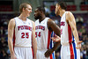 Nov 28, 2012; Auburn Hills, MI, USA; Detroit Pistons small forward Kyle Singler (25), power forward Jason Maxiell (54), and small forward Tayshaun Prince (22) during the third quarter against the Phoenix Suns at The Palace. Detroit won 117-77. Mandatory Credit: Tim Fuller-USA TODAY Sports
