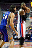 Nov 28, 2012; Auburn Hills, MI, USA; Phoenix Suns power forward Luis Scola (14) guards Detroit Pistons center Greg Monroe (10) during the third quarter at The Palace. Detroit won 117-77. Mandatory Credit: Tim Fuller-USA TODAY Sports