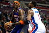 Nov 28, 2012; Auburn Hills, MI, USA; Detroit Pistons center Andre Drummond (1) guards Phoenix Suns center Jermaine O'Neal (20) during the second quarter at The Palace. Mandatory Credit: Tim Fuller-USA TODAY Sports