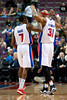 Nov 28, 2012; Auburn Hills, MI, USA; Detroit Pistons point guard Brandon Knight (7) and power forward Charlie Villanueva (31) celebrate during the fourth quarter against the Phoenix Suns at The Palace. Detroit won 117-77. Mandatory Credit: Tim Fuller-USA TODAY Sports