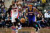 Nov 28, 2012; Auburn Hills, MI, USA; Phoenix Suns point guard Shannon Brown (26) pushes the ball up court against Detroit Pistons center Greg Monroe (10) during the second quarter at The Palace. Mandatory Credit: Tim Fuller-USA TODAY Sports