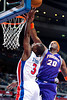 Nov 28, 2012; Auburn Hills, MI, USA; Detroit Pistons point guard Rodney Stuckey (3) lays it up over Phoenix Suns center Jermaine O'Neal (20) during the third quarter at The Palace. Detroit won 117-77. Mandatory Credit: Tim Fuller-USA TODAY Sports