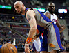 Nov 28, 2012; Auburn Hills, MI, USA; Phoenix Suns center Marcin Gortat (4) watches the ball go out of bounds during the first quarter against the Detroit Pistons at The Palace. Mandatory Credit: Tim Fuller-USA TODAY Sports
