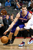Nov 28, 2012; Auburn Hills, MI, USA; Phoenix Suns point guard Goran Dragic (1) drives to the basket during the second quarter against the Detroit Pistons at The Palace. Mandatory Credit: Tim Fuller-USA TODAY Sports