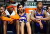 Nov 28, 2012; Auburn Hills, MI, USA; Phoenix Suns center Jermaine O'Neal (left), power forward Luis Scola (center), and power forward Markieff Morris (right) watch from the bench during the fourth quarter against the Detroit Pistons at The Palace. Detroit won 117-77. Mandatory Credit: Tim Fuller-USA TODAY Sports