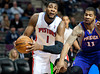 Nov 28, 2012; Auburn Hills, MI, USA; Detroit Pistons center Andre Drummond (1) gets past Phoenix Suns power forward Markieff Morris (11) during the fourth quarter at The Palace. Detroit won 117-77. Mandatory Credit: Tim Fuller-USA TODAY Sports