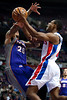 Nov 28, 2012; Auburn Hills, MI, USA; Phoenix Suns point guard Shannon Brown (26) fouls Detroit Pistons point guard Brandon Knight (7) during the third quarter at The Palace. Detroit won 117-77. Mandatory Credit: Tim Fuller-USA TODAY Sports