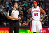 Nov 28, 2012; Auburn Hills, MI, USA; Detroit Pistons small forward Corey Maggette (50) talks to referee Curtis Blair (left) during the second quarter against the Phoenix Suns at The Palace. Mandatory Credit: Tim Fuller-USA TODAY Sports