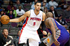 Nov 28, 2012; Auburn Hills, MI, USA; Detroit Pistons power forward Austin Daye (5) during the fourth quarter against the Phoenix Suns at The Palace. Detroit won 117-77. Mandatory Credit: Tim Fuller-USA TODAY Sports
