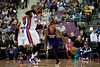 Nov 28, 2012; Auburn Hills, MI, USA; Phoenix Suns point guard Shannon Brown (26) dribbles past Detroit Pistons center Greg Monroe (10) during the second quarter at The Palace. Mandatory Credit: Tim Fuller-USA TODAY Sports