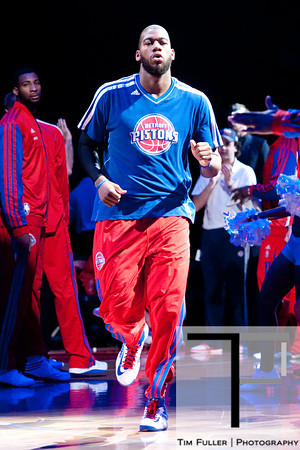 Nov 28, 2012; Auburn Hills, MI, USA; Detroit Pistons center Greg Monroe (10) is announced before the game against the Phoenix Suns at The Palace. Mandatory Credit: Tim Fuller-USA TODAY Sports