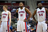 Nov 28, 2012; Auburn Hills, MI, USA; Detroit Pistons small forward Kyle Singler (25), center Greg Monroe (10), and power forward Jason Maxiell (54) during the third quarter against the Phoenix Suns at The Palace. Detroit won 117-77. Mandatory Credit: Tim Fuller-USA TODAY Sports