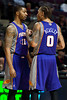 Nov 28, 2012; Auburn Hills, MI, USA; Phoenix Suns power forward Markieff Morris (11) and small forward Michael Beasley (0) talk during the second quarter against the Detroit Pistons at The Palace. Detroit won 117-77. Mandatory Credit: Tim Fuller-USA TODAY Sports