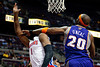 Nov 28, 2012; Auburn Hills, MI, USA; Phoenix Suns center Jermaine O'Neal (20) attempts to block Detroit Pistons center Andre Drummond (1) during the third quarter at The Palace. Detroit won 117-77. Mandatory Credit: Tim Fuller-USA TODAY Sports