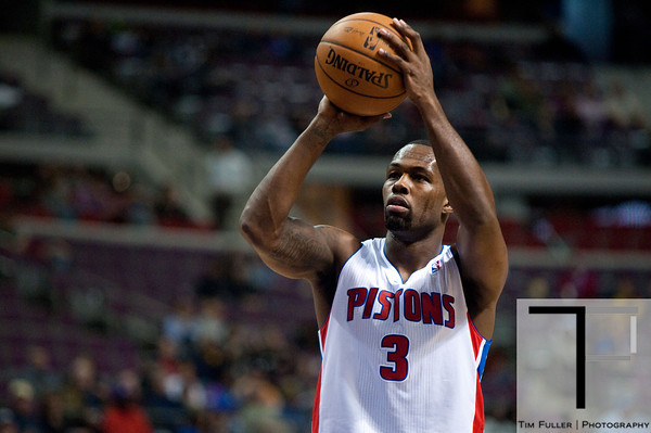 Nov 28, 2012; Auburn Hills, MI, USA; Detroit Pistons point guard Rodney Stuckey (3) shoots a free throw during the third quarter against the Phoenix Suns at The Palace. Detroit won 117-77. Mandatory Credit: Tim Fuller-USA TODAY Sports