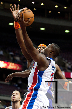 Nov 28, 2012; Auburn Hills, MI, USA; Detroit Pistons point guard Rodney Stuckey (3) goes to the basket during the third quarter against the Phoenix Suns at The Palace. Detroit won 117-77. Mandatory Credit: Tim Fuller-USA TODAY Sports