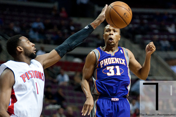 Nov 28, 2012; Auburn Hills, MI, USA; Detroit Pistons center Andre Drummond (1) attempts to block the pass of Phoenix Suns point guard Sebastian Telfair (31) during the second quarter at The Palace. Mandatory Credit: Tim Fuller-USA TODAY Sports