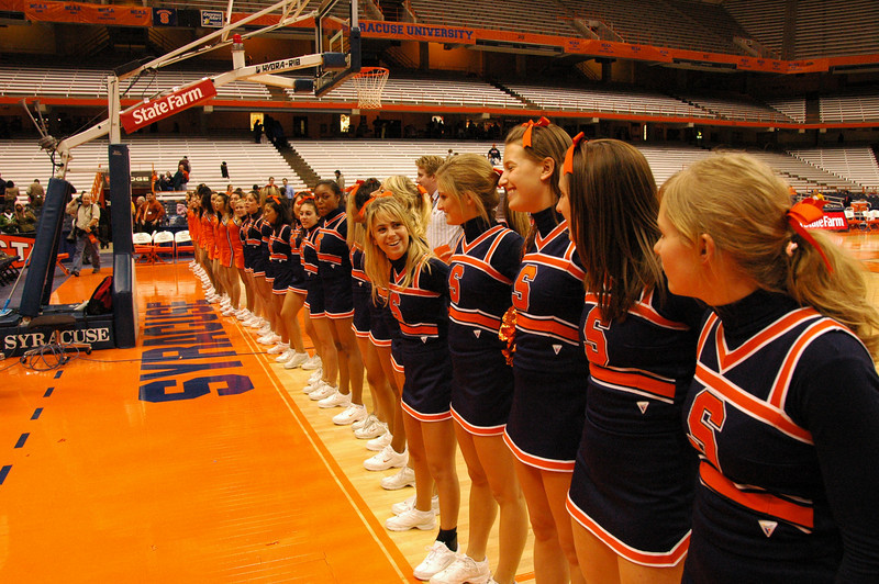 Lining up to sing the Syracuse University Alma mater.